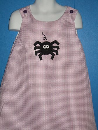 Custom Spider Applique Brown Gingham Dress