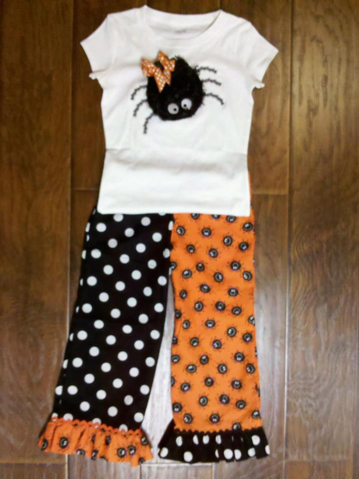 Custom Applique Halloween Spider Shirt and Matching Pants