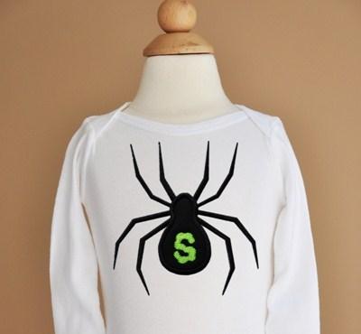 Custom Applique Halloween Spider Initial Shirt