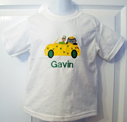 Custom Applique St. Patrick's Day Leprechaun Car Shirt