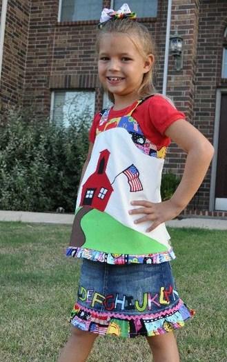 Custom Applique School House Top and ABC Skirt