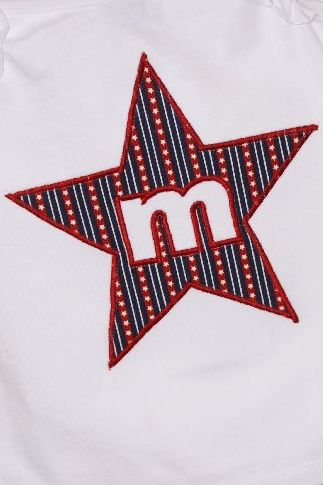 4th of July Custom Star Applique Initial Shirt