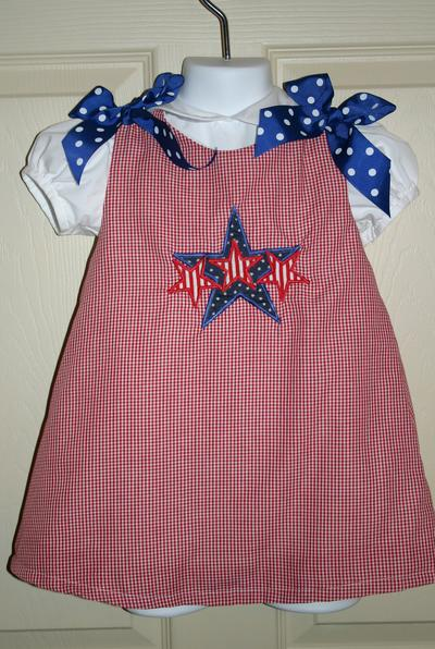 Custom Applique 4th of July Stars Dress