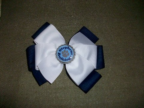Stephens Elem. School Custom Bottle Cap Bow (navy with white on top)