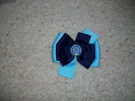 Custom Stephens Elem Bottle Cap Bow (light blue with navy on top)