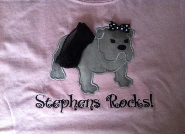 Custom Applique Stephens Rocks Bulldog