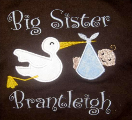 Custom Applique Stork Sister or Brother Shirt