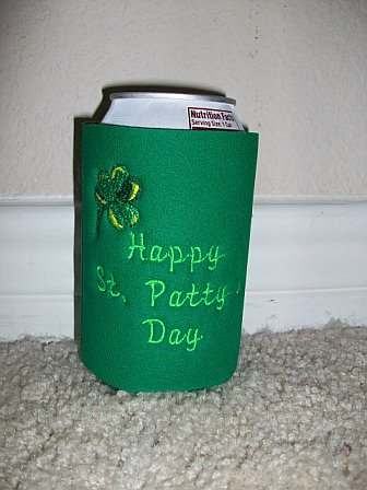 St. Patrick's Day Embroidered Koozie