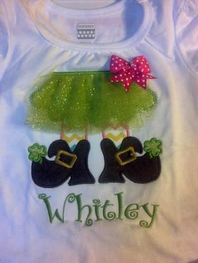 Custom Applique Tutu Leprechaun Feet St. Patrick's Day Shirt