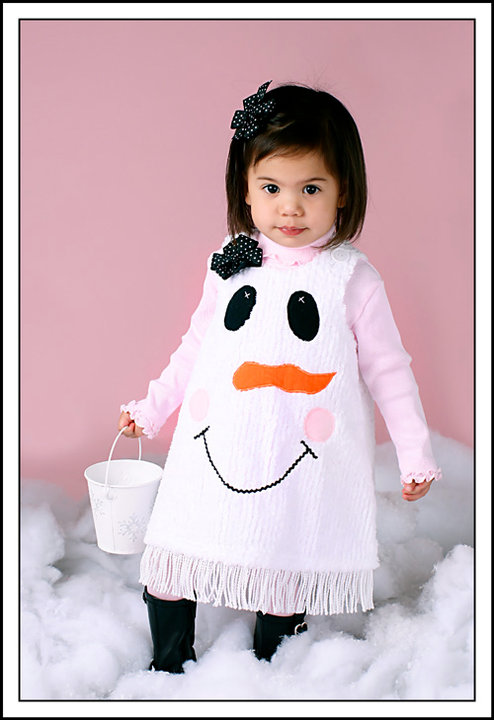 Custom Applique Christmas Snowman Aline Chenille Dress