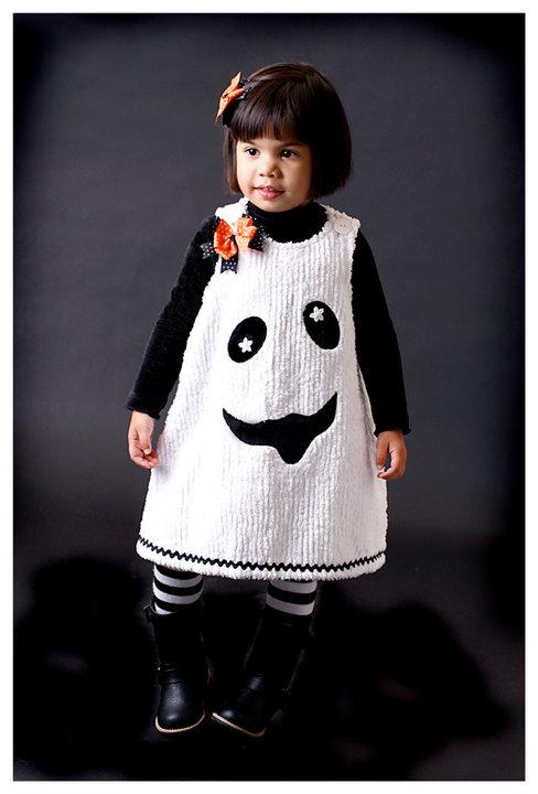 Custom Applique Halloween Ghost Aline Chenille Dress