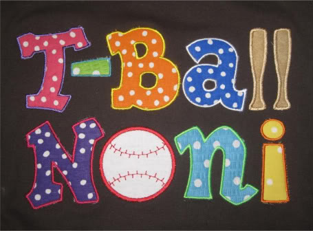 Custom Applique T-Ball Noni Baseball Shirt
