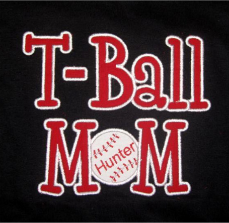 Custom Applique T-Ball Mom Baseball Shirt
