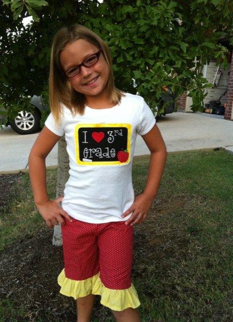 Custom Applique School Chalkboard Grade Shirt Set