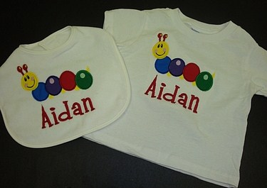 Custom Applique Caterpillar Shirt and Bib