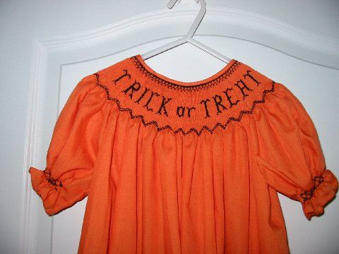 Custom Smocked Trick Or Treat Bishop Dress
