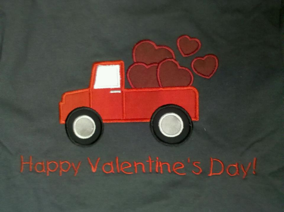 Custom Applique Truck With Hearts Valentine's Day Shirt