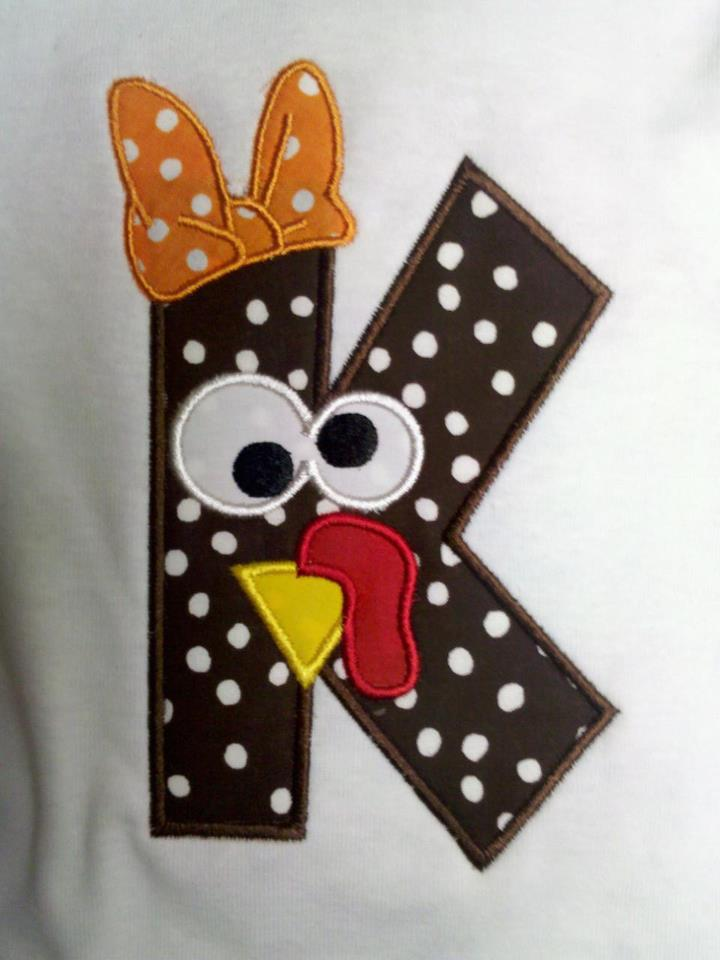 Custom Applique Turkey Thanksgiving Initial Shirt