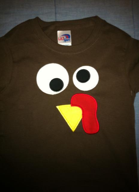 Custom Applique Thanksgiving Turkey Face Shirt