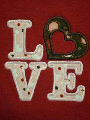 Custom Applique Valentine LOVE shirt