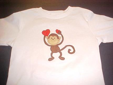 Custom Monkey Applique Valentine Shirt