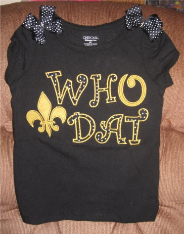 Custom Applique Who Dat Saints Shirt (2)