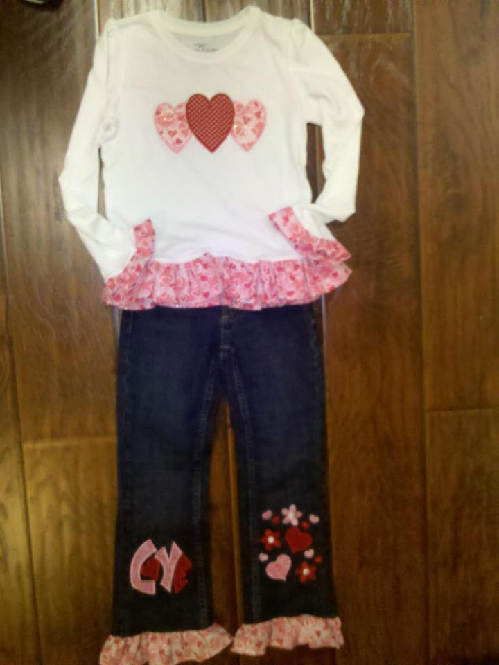Custom Applique Valentine's Day Jean Outfit