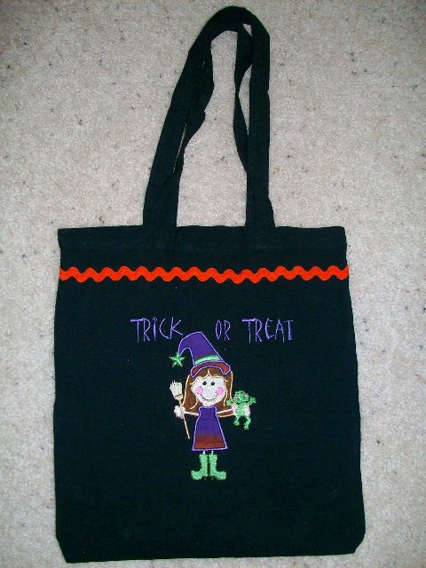 Custom Applique Halloween Trick Or Treat Bag- Witch