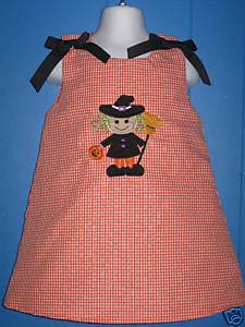 Custom Applique Cute Little Witch Halloween Dress