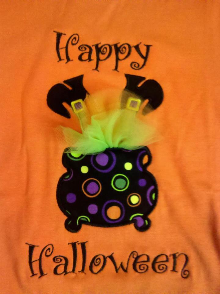 Custom Applique Witch Cauldron Halloween Shirt