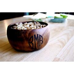 Monogrammed Wood Calabash Bowl