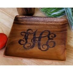Monogrammed Wood Plate