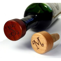 Monogrammed Wood Wine Stopper