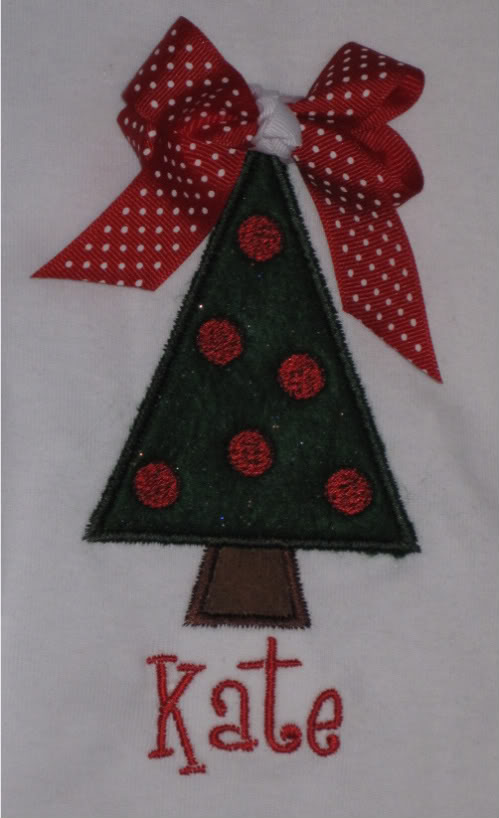 Custom Applique Christmas Tree With Bow Shirt